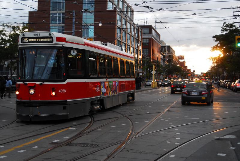 A Toronto Transit Commission's CLRV crosses  Bathurst Street.