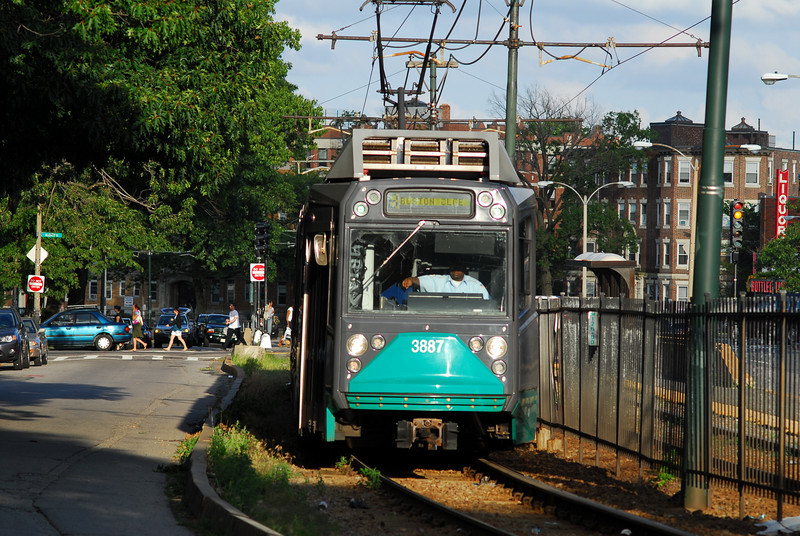 A Breda car on the Green line along Commonwealth Ave.