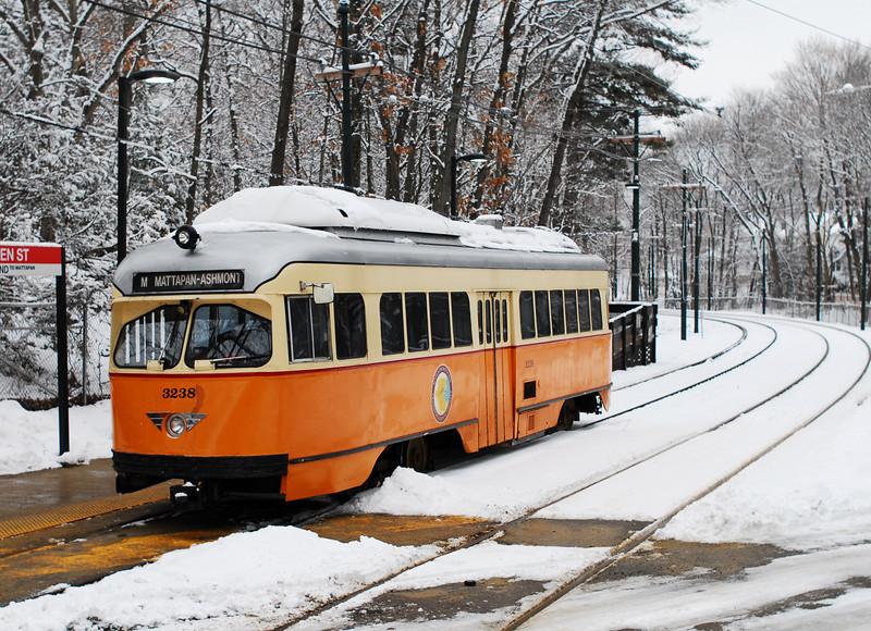 The Mattapan Line in the snow.