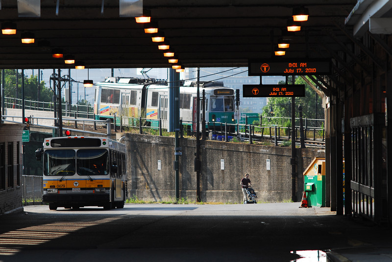 The Green Line entering Lechmere.
