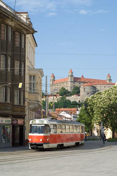 A Tram under the Castle in Bratislava.
