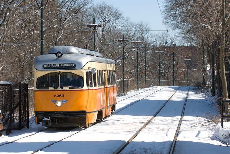 A Mattapan bound PCC aproches the Central Avenue Station in Milton.