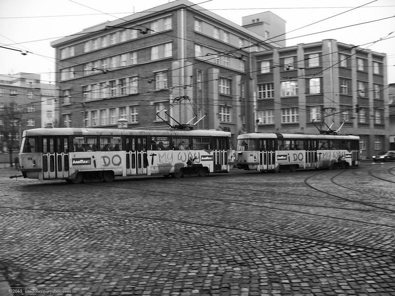 A set of Tatra advertising trams in Olomouc, Czech Republic.