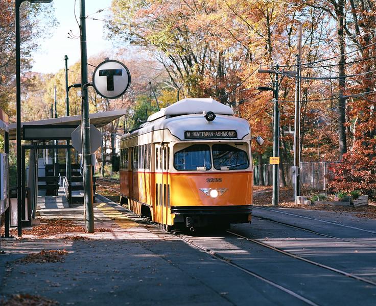 MBTA PCCs at Capen Street on the Mattapan Line in Milton. Taken with Pentax 67 on Kodak Ektar.