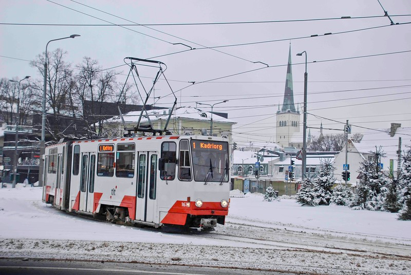 Route one heading for the park at Kadriorg. St Olaf's church in the old town is in the background.