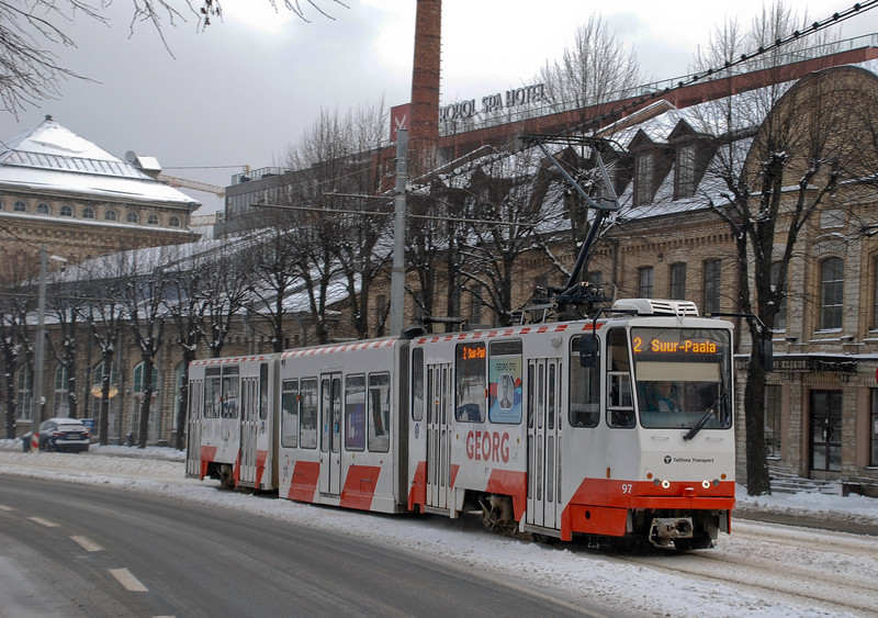 A number two tram which started its journey on the Kopli peninsular. A lot of patriotic tram naming going on.