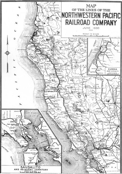 The Northwestern Pacific Railroad,the 'Redwood Empire Route', played a major role in the growth of Northern California. The line was created in 1907 through the consolidation of six separate picturesque railroad companies held by the Santa Fe and Southern Pacific railroads. At its height, the Northwestern Pacific Railroad was an amalgamation of some sixty different companies. Some of the forerunners built extensive and substantial operating lines. Others, were short lines such as the many logging lines in the Humboldt Bay region. Nearly a third consisted of companies which incorporated but never laid a foot of track. All of them contributed, in some fashion, to the rich heritage of the NWP.<br /> <br /> Diversity was a key word in the history of Redwood Empire railroading. Gauges varied from the Sonoma Prismoidal, an early wooden monorail, to the odd-gauged logging lines, many built to accommodate their four-legged motive power. In between lay the two foot Sonoma Magnesite RR, the first-class narrow gauge North Pacific Coast and, of course, the more common standard gauge lines. Power was supplied by horse, mules, oxen, steam, electricity, and internal combustion engines, both gas and diesel.<br /> <br /> The NWP, with its affectionate 'Nowhere in Particular' nickname, operated standard gauge, narrow gauge, ferry steamboats and car floats, electric 3rd rail and overhead trolley interurbans, a streamlined 'name' train along with unusual connectors such as funiculars and scenic tourist railways. This transportation network in the pre-World War II years many claimed was too far ahead of its time. Rarely is so much fascinating diversity found in the origins of one company.