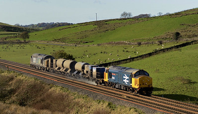 2017 11 12.37558+37602 ,replacement 37558 on RHTT duties on the Carlisle-Carlisle  outward journey at Gilsland.