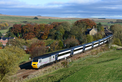 The 09.00 Kings Cross-Edinburgh passes Gilsland with 43299 leading 10/11/13.