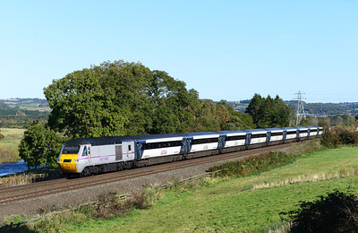 An Aberdeen-Kings Cross HST runs beside the river Tyne near Hexham 7/10/12.