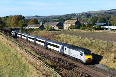 43295 leads another diverted HST near Ridley Hall 21/10/12.