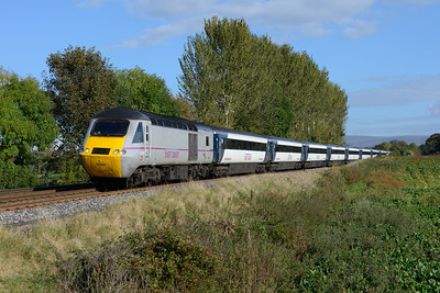 In lovely Autumn light the 10.45 Kings Cross-Perth HST passes Great Corby with powercars 43309+43308, 12/10/14