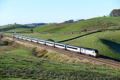 The diverted 09.44 Edinburgh-Kings Cross HST approaches Gilsland 10/11/13.