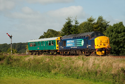 "37419 propels inspection saloon ""Caroline"" at Great Corby en route from York-Carlisle Currock Junction 4/9/12."