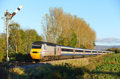 43299 & 43306 with the EMT liveried set pass Great Corby with the 10.58 Kings Cross-Inverness 10/11/13.