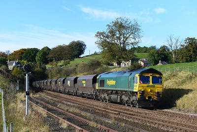 Sunday 21/10/12 was a busy day on the Tyne Valley with diverted HSTs, engineers trains, coal trains and the RHTT.  66525 emerges from Whitchester tunnel with the second coal train.