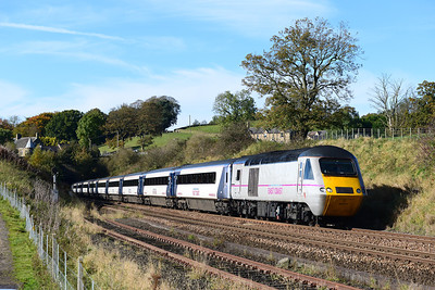 43277 and 43309 form an Edinburgh-Kings Cross East Coast service at Melkridge 21/10/12.