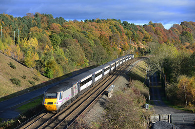 43290 brings up the rear of the 11.44 Edinburgh-Newcastle HST at Haltwhistle 10/11/13.