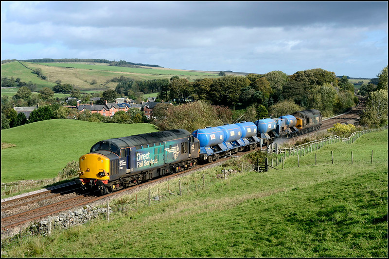 2018 10 02.37059+37069 on the 02.50 Carlisle-Carlisle RHTT at Gilsland,the previous day this RHTT had two large logo 37's hauling this working.To my disbelieve these two turned up having been on S&C at the weekend hence their grubby condition!.