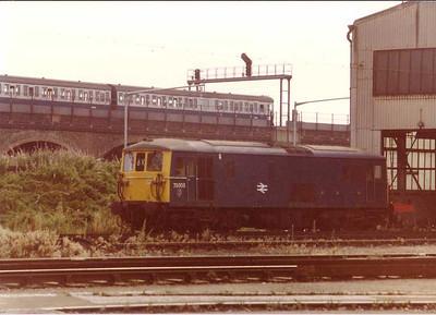 """""""JA"""" 73003 at Stewart's Lane Depot, London - 15 Aug 1983"""