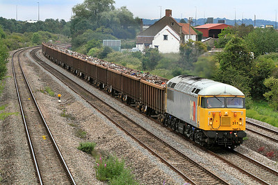56311 heads a very healthy load of scrap as the 6Z56 10.30 Grimsby Town to Cardiff Tidal passing Undy on the fast. Tuesday 12th July 2011.