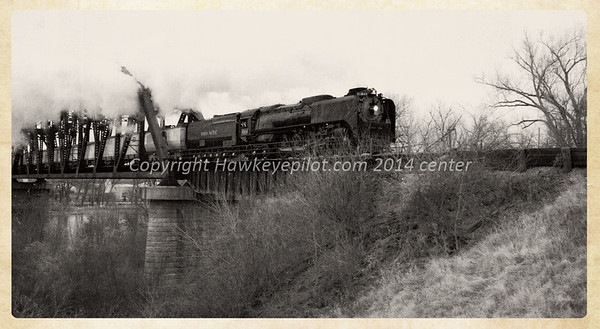 50th Anniversary Special....UP844 over the bridge at Blair, Nebraska....B&W and distressed effects added.