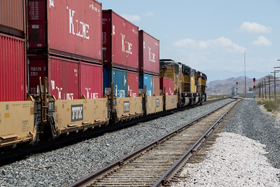 Having crested Apex summit, UP 8208 and two SD70s head east into Dry Lake Valley