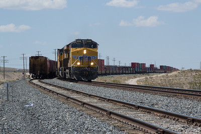 UP 8208 crests the summit at Apex, NV on an Eastbound Stack Train