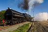 Southern Pacific 4-6-2 lets off steam at Hearst, while waiting for Union Pacific 844.
