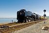 UP 844 steams along the shore at Pinole