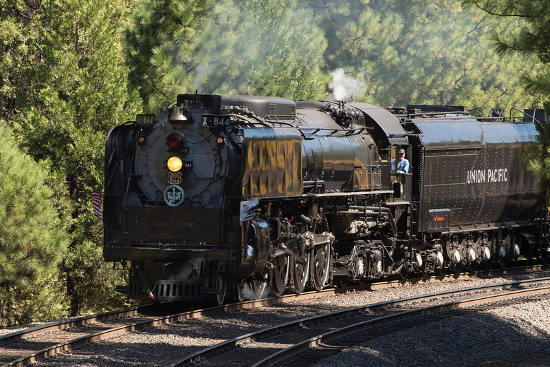 "Union Pacific Steam Locomotive ""844"" huffing and puffing as she rounds the bend outside Colfax, California."