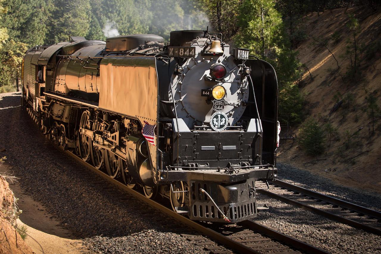 "Union Pacific Steam Locomotive ""844"" on the tracks near Colfax, Ca."