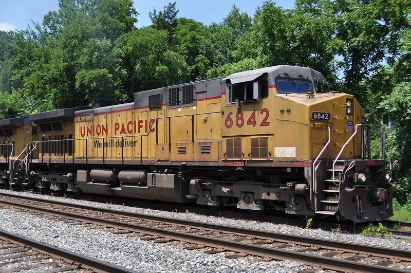 7/9/11<br /> St Denis Marc Station<br /> K644-05<br /> Eastbound<br /> Ethanol<br /> Old Main Line<br /> Union Pacific No. 6842 C44ACCTE
