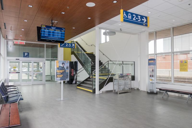 Interior, track level, new Cobourg VIA rail station.