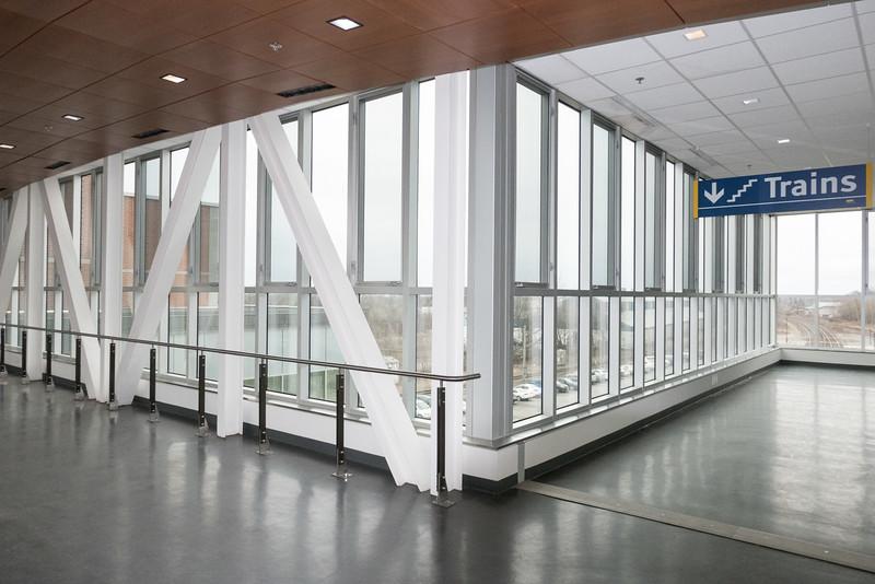 Second or station level new Cobrough VIA rail station interior.