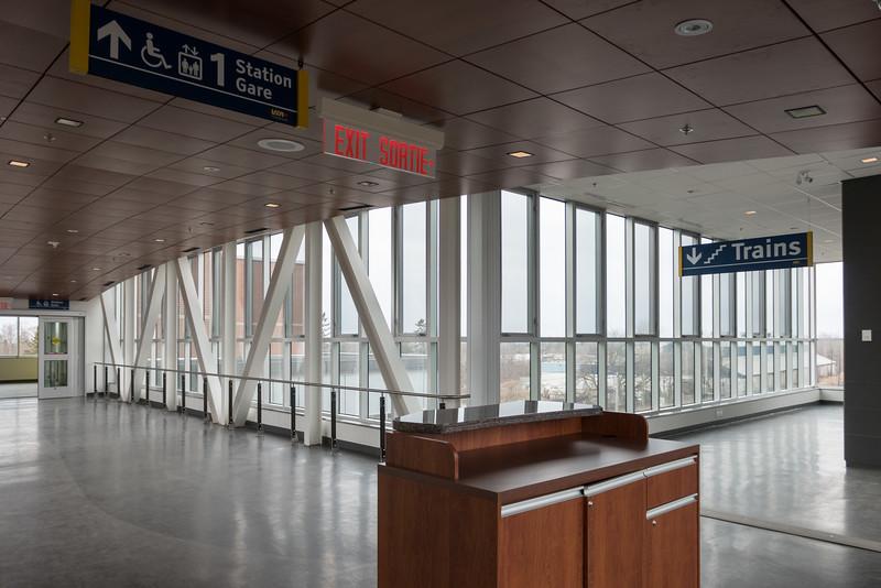 New Cobourg VIA rail station second or station level interior.
