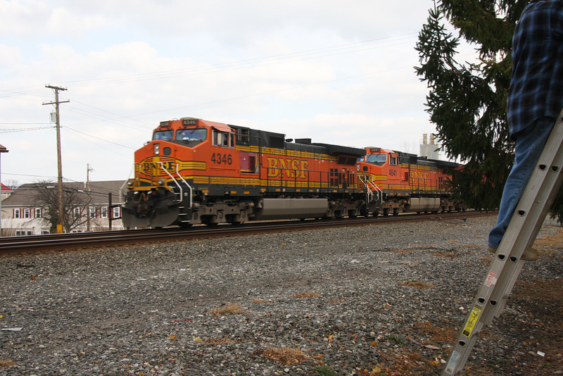 A Burlington Northern Santa Fe train, was one of the first to go by-pretty rare site, per Bob, on the ladder.