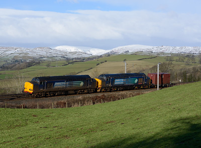 67612+37419 pass Hayfell the Saturday Sellafield-Crewe container 31/1/15.