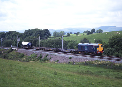 After another class 20 failed further south, 20301 worked the DRS milk train solo on Sunday 6/7/97, seen here near Hardrigg.