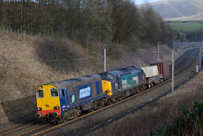 20305+37609 haul the Saturday Sellafield-Crewe past Beckfoot 24/1/15.