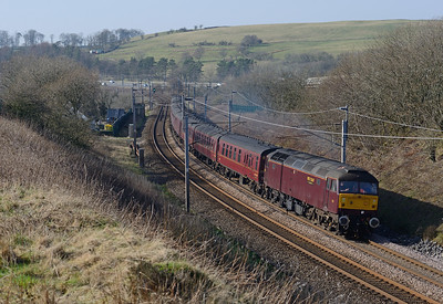 Substituting for a failed steam loco, 47826 passes Lowgill with the Cumbrian Mountain Express on 23/2/19.