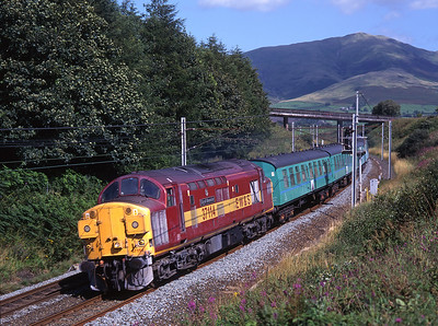 "37114 ""City of Worcester"" is top & tail with 37023 at Beckfoot with a weedkiller train on 15/8/98."