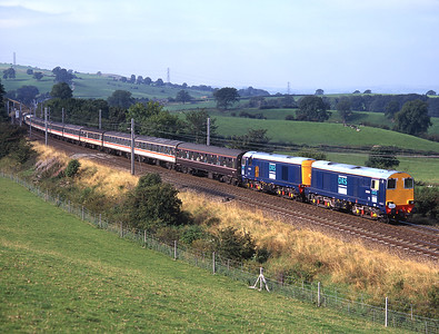A Bristol-Newcastle railtour passes Lambrigg behind 20304 + 20305 14/9/96.