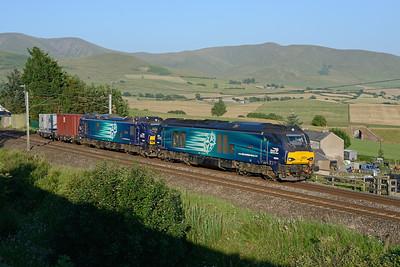 "68004 ""Rapid"" & 88008 ""Ariadne"" pass Lowgill with 6K74 Sellafield-Crewe on 4/7/18."