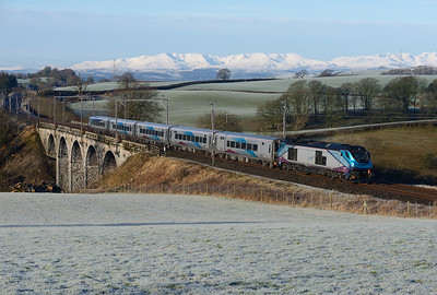 A TPE training run from Carlisle-Manchester passes Docker propelled by 68032 on 23/1/19.