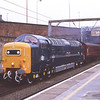 55022 Royal Scots Grey with 57601 on the rear arrive into plat4 at Preston with the empty stock from Steamtown at the start of RSG's birthday bash weekend of tours, 4/3/2011.