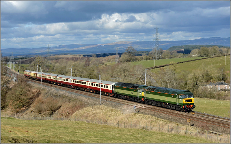 2018 03 25. D1935{47805+D1944{47501}   on the 11.00 Kingussie-Crewe charter at Great Strickland