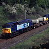 57007 with 57003 on the rear pass Beckfoot with the Sellafield to Heysham diverted flasks 19/5/2011.