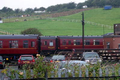 Coaches at Carnforth - on the left is 3150 and on the right is 99721, Mk. 1 SK.