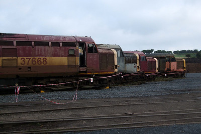37668, 37165, 37717 and 37517 on the scrap line at Carnforth.